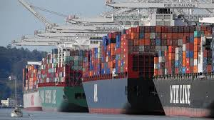 sea freight ship in port